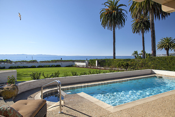 1154 Channel Drive ocean side pool, an oceanfront home in Montecito steps from the Four Seasons Santa Barbara Biltmore Hotel