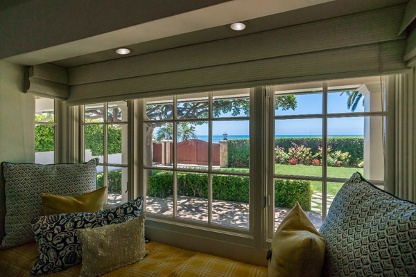 1130 Channel Drive living room view, a beach home on Butterfly Beach in Montecito