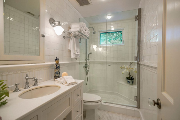 1130 Channel Drive master bath, a beach home on Butterfly Beach in Montecito
