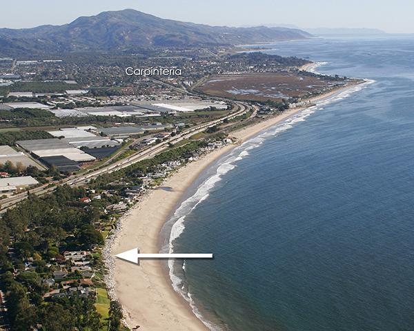 Aerial down coast